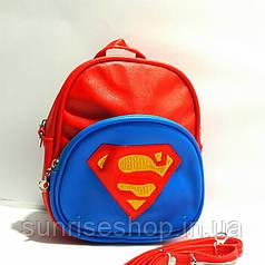 """Сумка-рюкзак для хлопчиків""""Супермен"""" шкірозамінник червоний"""