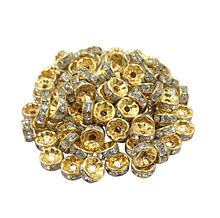 Бусины-рондели с прозрачными стразами, 6 мм,  золото, 1 шт.