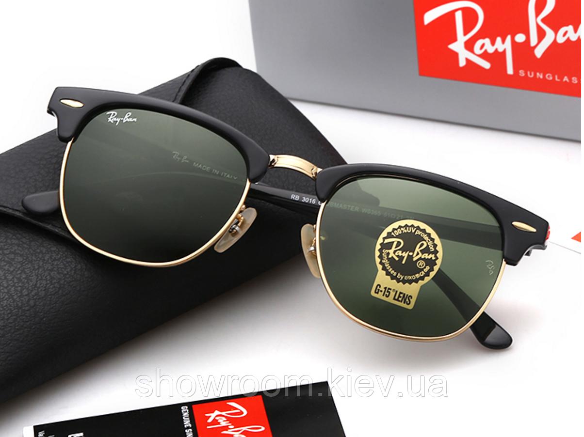 Солнцезащитные очки в стиле RAY BAN 3016 clubmaster black LUX