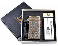 Электроимпульсная USB зажигалка №4760-2, в комплекте шнурок, в подарочной упаковке, новые технологии