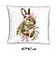 """Панель бавовняна для подушки """"Зайчик з рожевим бантиком"""" 40*40 см, фото 3"""