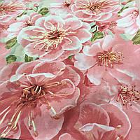 Бязь купонная с яблоневым цветом, 3-д рисунок