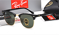 Женские солнцезащитные очки в стиле RAY BAN 3016 clubmaster black LUX, фото 1