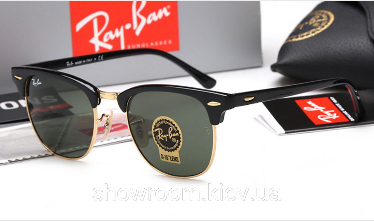 Женские солнцезащитные очки в стиле RAY BAN 3016 clubmaster black LUX