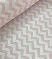 Хлопковая ткань зигзаг светло-розовый
