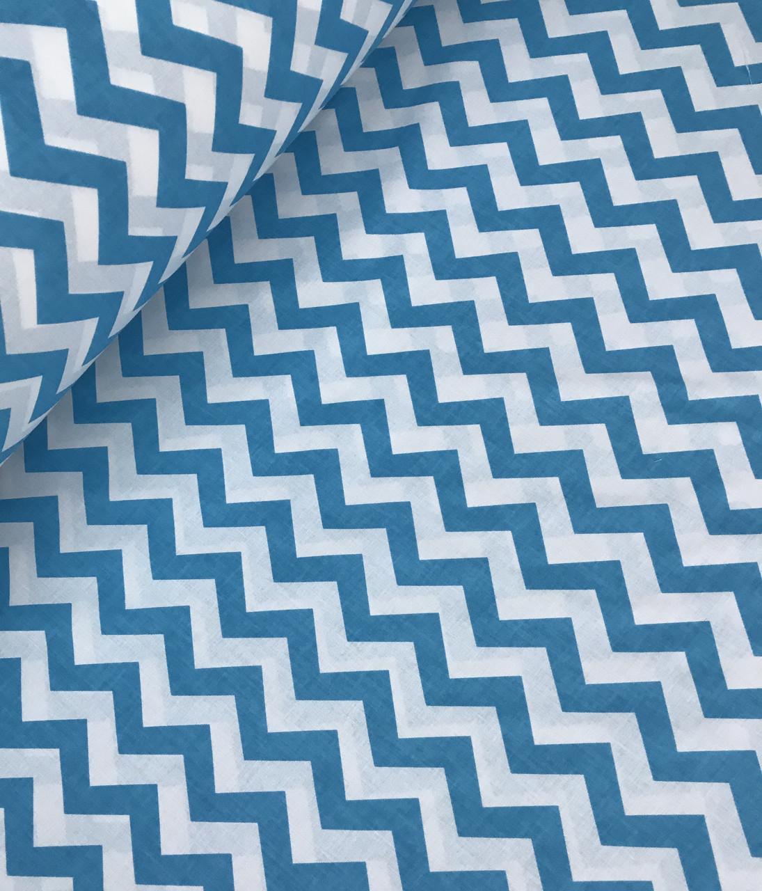 Хлопковая ткань зигзаг бирюзовый