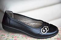 Туфли мокасины черные с брошкой женские удобные (Код: 40)