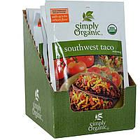 Simply Organic, Приправа Юго-Западный Тако, 12 пакетиков, по 1,13 унции (32 г) каждый