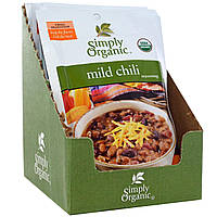 Simply Organic, Приправа из неострого чили, 12 пакетиков, по 1 унции (28 г) каждый