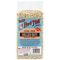 Bobs Red Mill, Экстра-толстая плющенная овсяная крупа, цельное зерно, 453 г