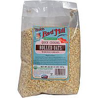 Bobs Red Mill, Органические овсяные хлопья быстрого приготовления, цельнозерновые, 32 унции (2 фунта) 907 г