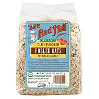 Bobs Red Mill, Органические традиционные овсяные хлопья, цельное зерно, 32 унции (2 фунта) 907 г