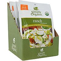 Simply Organic, Смесь соуса ранчо, 12 пакетов, по 1 унция (28 г) каждый