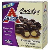 Atkins, Удовольствие, миндаль в шоколаде, 5 пакетиков, 1 унция (28 г) каждый