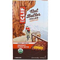 Clif Bar, Энергетический батончик с органическим ореховым маслом, шоколадное арахисовое масло, 12 батончиков, 1.76 унции(50 г) каждый