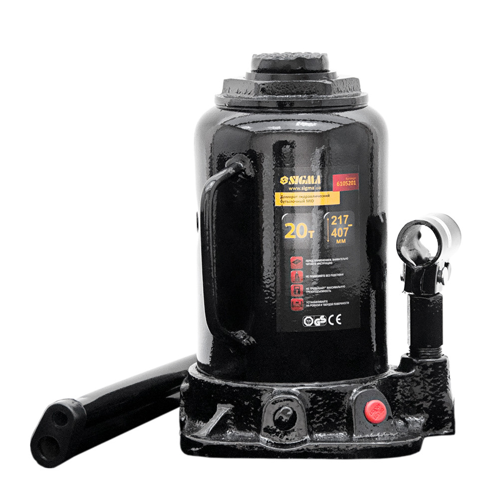Домкрат гидравлический бутылочный mid 20т H 217-407мм sigma 6105201