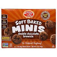Enjoy Life Foods, Мягкие печеньки, мягкое печенье-брауни с двойным шоколадом, снэки в отдельных упаковках, 6 шт. по 1 унции (28 г)