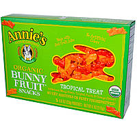 Annies Homegrown, Органические фруктовые закуски в форме кроликов, вкус тропических фруктов, 5 упаковок, 0.8 унций (23 г) шт.