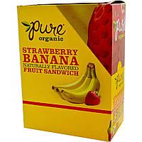 Pure Bar, Organic, фруктовый сэндвич, клубника и банан, 20 батончиков по 0,63 унции (18 г) каждый