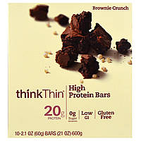 ThinkThin, Печенье брауни, 10 батончиков, 60 г каждый