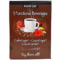 Madre Labs, 3 функциональных напитка, CafeCeps, CocoCeps, CocoCardio, 3 пробных пакетика