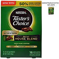Nescaf, Тэйстерс Чойс, Растворимый Кофе, Декаф Хаус Бленд, 16 пакетиков, 0.1 унций (3 гр) каждый