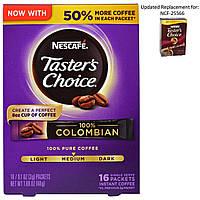 Nescaf, Tasters Choice, растворимый кофе, 100% колумбийский, 16 порционных пакетиков, по 0,1 унции (3 г) каждый