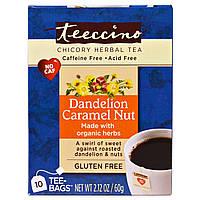 Teeccino, Травяной чай из цикория, одуванчика, карамели, ореха, без кофеина, 10 чайных пакетиков, 60 г (2,12 унции)