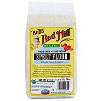 Bobs Red Mill, Organic, мука из спельты, цельнозерновая, 24 унции (680 г)