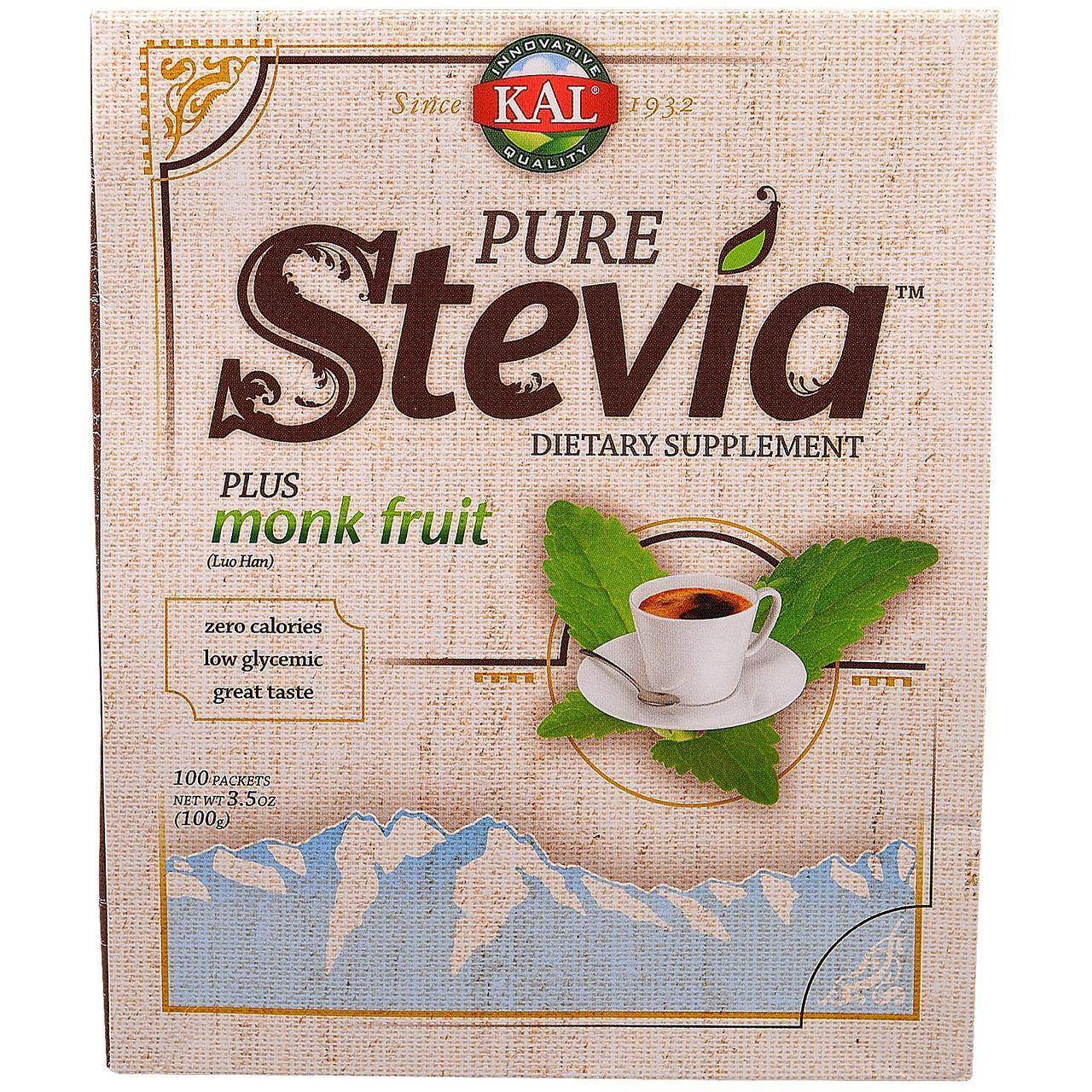KAL, Чистая стевия, с экстрактом плодов ло хан гуо монк, 100 пакетов, 3,5 унции (100 г)