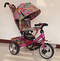 Велосипед 3-х колесный с принтом TILLY Trike T-344-1 МАЛИНОВЫЙ