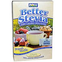 Now Foods, Стевия (BetterStevia) сахарозаменитель с нулевой калорийностью, французская ваниль, 75 пакетиков по 1 г в каждом