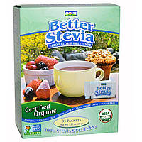 Now Foods, Органическая улучшенная Стевия, подсластитель без калорий, 35 пакетов, (1 г) каждый
