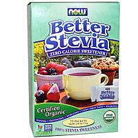 Now Foods, Органическая продукция, BetterStevia, Некалорийный подсластитель, 75 пакетиков, 2,65 унции (75 г)