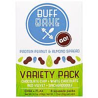Buff Bake, Спред с Протеином Арахиса и Миндаля, Набор Разнообразных Пакетов, 8 Сжимаемых упаковок, 1,15 унции (32 г) каждыя