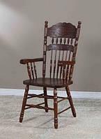 Деревянный стул с подлокотниками 828-А-1, темный орех