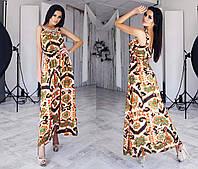 """Элегантный женский длинный сарафан до больших размеров 105 """"Штапель Акварель Орнамент Бусины"""""""
