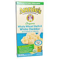 Annies Homegrown, Органические макароны с сыром, из цельной пшеницы, ракушки с белым чеддером, 6 унций (170 г)