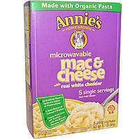 Annies Homegrown, Organic Microwavable Mac & Cheese with Real White Cheddar, 5 Packets