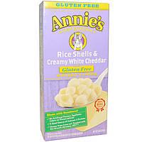 Annies Homegrown, Рисовые ракушки с густым белым чеддером, макароны с сыром, 6 унций (170 г)