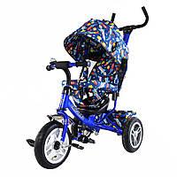 Велосипед детский 3-х колесный TILLY Trike T-351-10 СИНИЙ надувные колеса