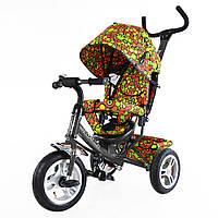 Велосипед детский трехколесный TILLY Trike T-351-4 ГРАФИТОВЫЙ с большими надувными колесами