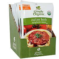 Simply Organic, Итальянские травяной соус для спагетти 12 пакетиков, 1.31 унции (37 г) каждый