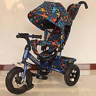 Велосипед 3-х колесный TILLY Trike T-363-3 СИНИЙ ручка, капюшон, сумка