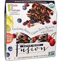 Made in Nature, Органические сушеные фрукты, Super Berry Fusion, 5 пакетиков, 1 унция (28 г) каждый