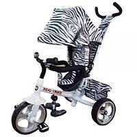 Детский велосипед трехколесный с родительской ручкой TILLY ZOO-TRIKE T-342 WHITE