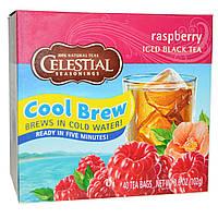 Celestial Seasonings, Черный холодный чай, малина, 40 пакетиков, 3,6 унции (102 г)