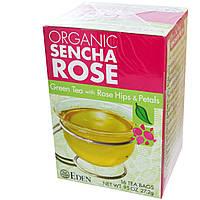 Eden Foods, Органический зеленый чай Сенча Роза, зеленый чай с плодами и лепестками шиповника, 16 пакетиков, 0,95 унции (27,2 г)