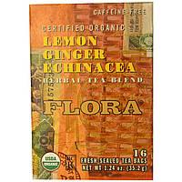 Flora, Смесь травяного чая, органические лимон, имбирь и эхинацея, без кофеина, 16 пакетиков, 35,2 г (1,24 унции)