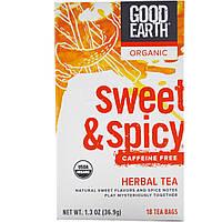 Good Earth Teas, Органический травяной чай, сладковато-пряный, без кофеина, 18 чайных пакетиков, 1.3 унции (36.9 г)